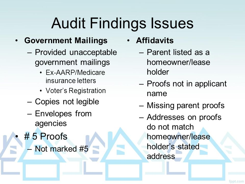 Audit Findings Issues # 5 Proofs Government Mailings