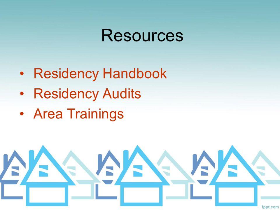 Residency Handbook Residency Audits Area Trainings