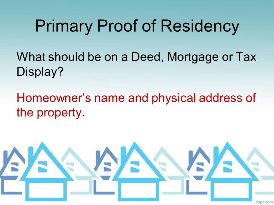 Primary Proof of Residency