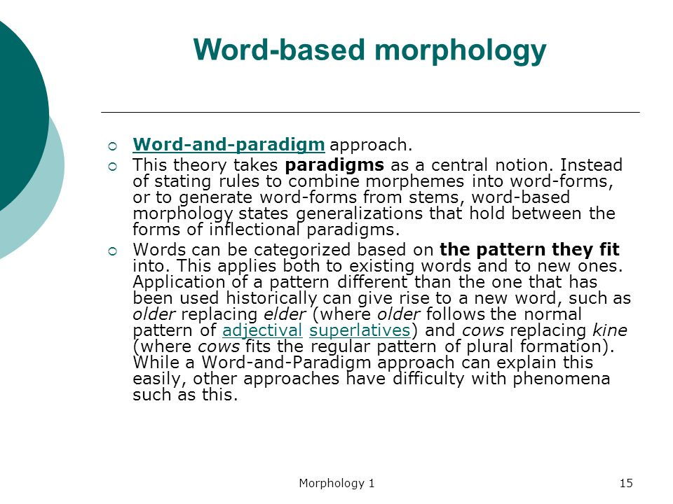 Word-based morphology