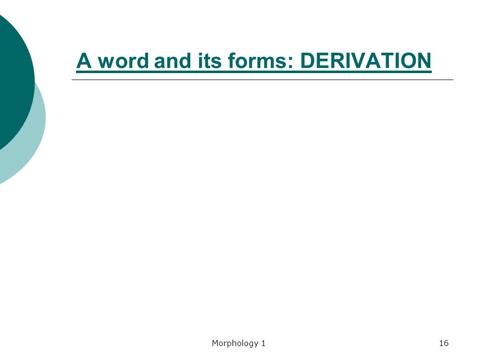 A word and its forms: DERIVATION