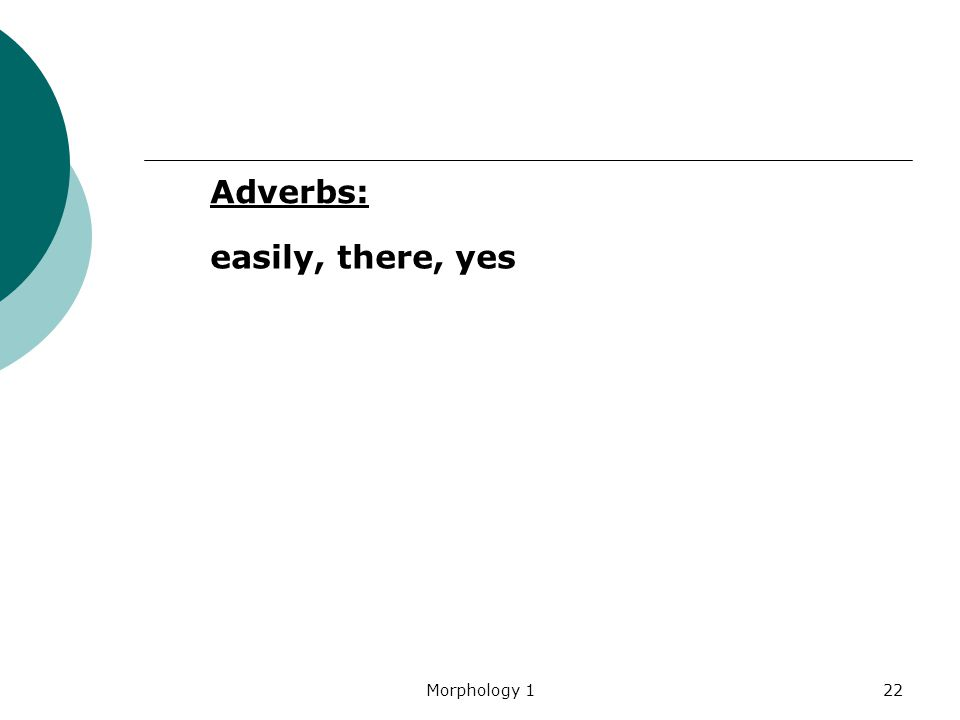 Adverbs: easily, there, yes Morphology 1