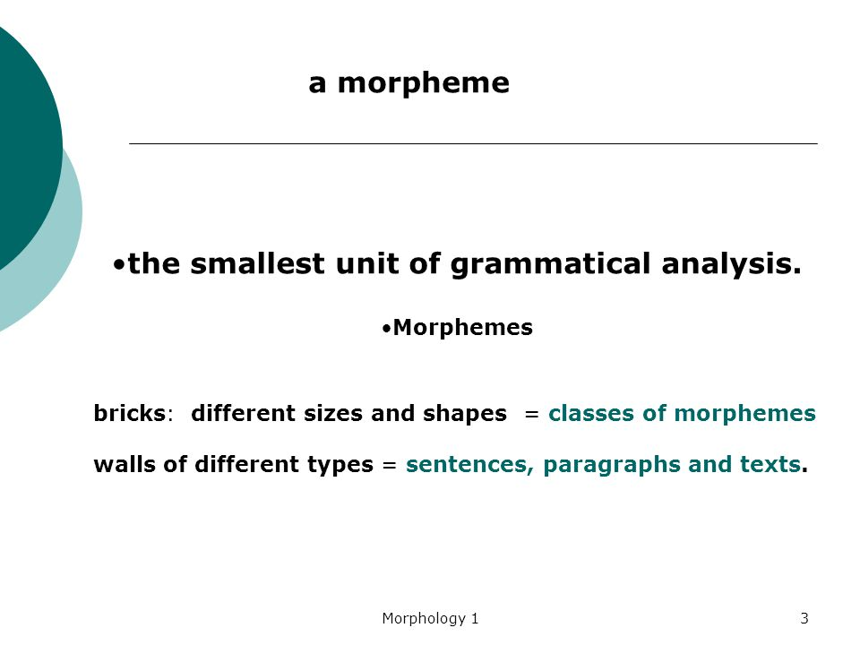 the smallest unit of grammatical analysis.