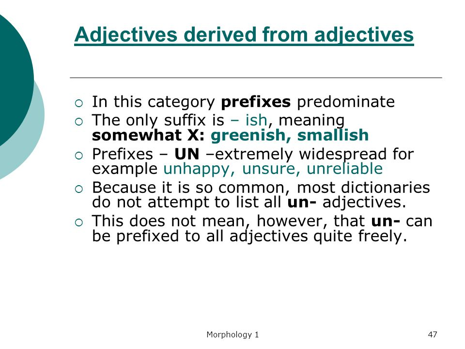 Adjectives derived from adjectives