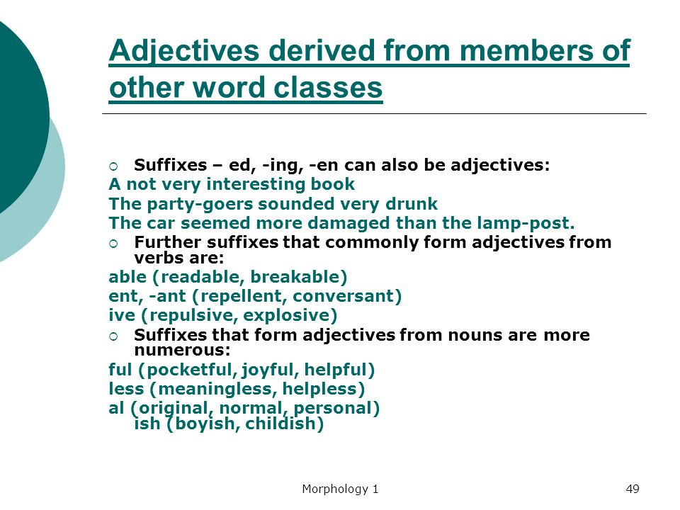 Adjectives derived from members of other word classes