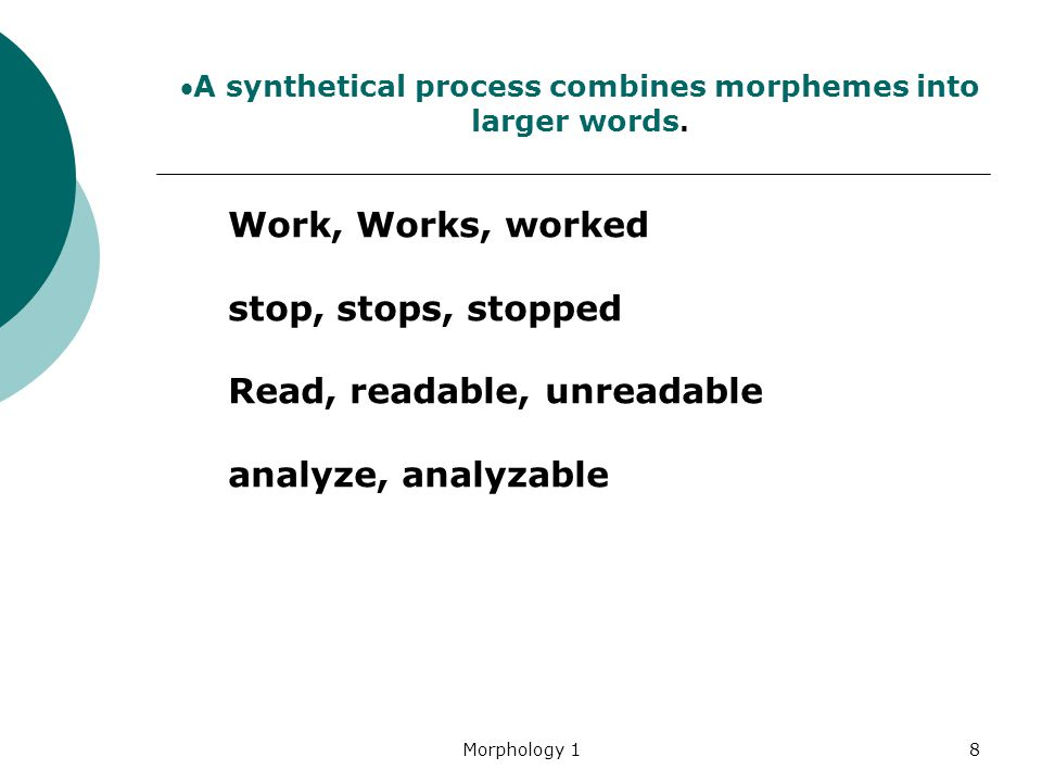 A synthetical process combines morphemes into larger words.