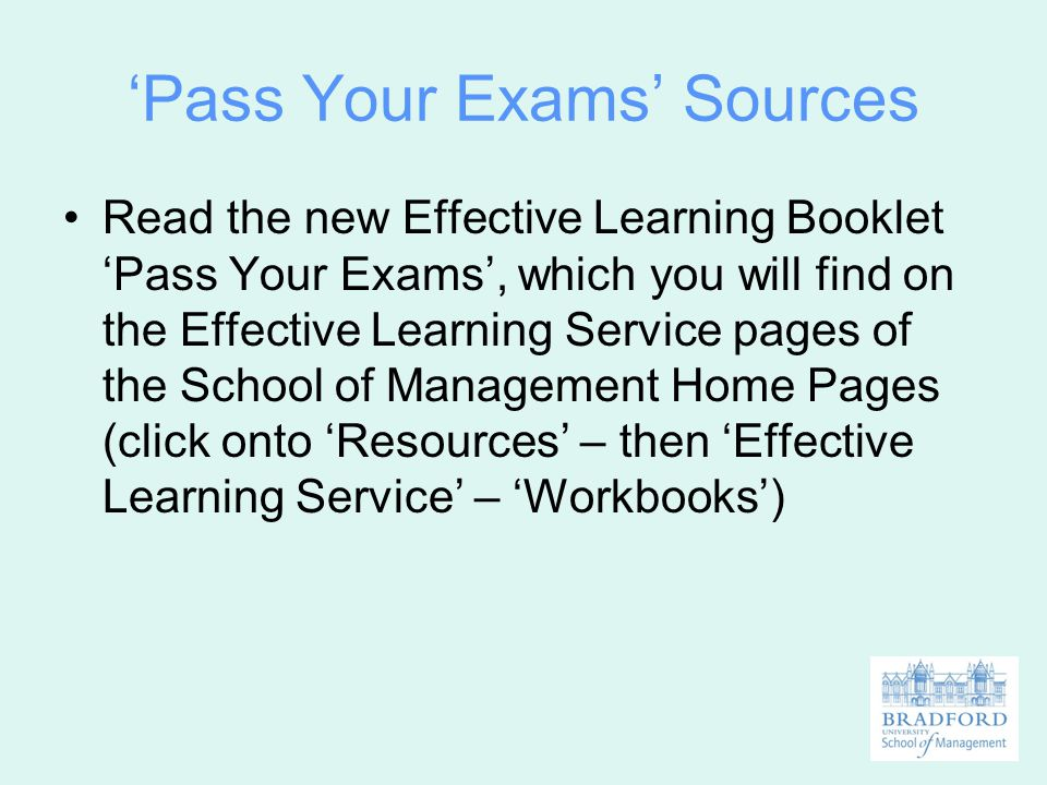 'Pass Your Exams' Sources