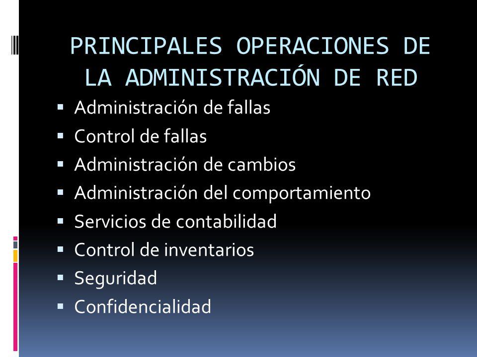 PRINCIPALES OPERACIONES DE LA ADMINISTRACIÓN DE RED