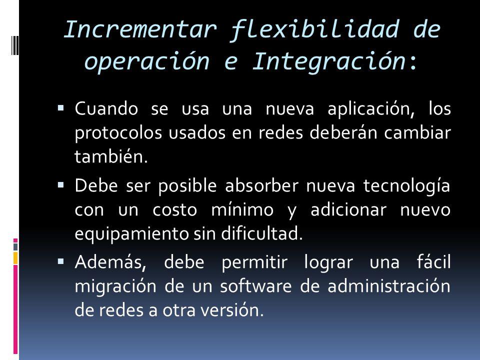 Incrementar flexibilidad de operación e Integración: