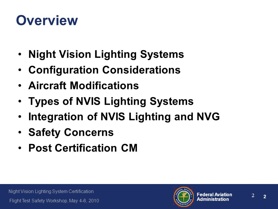 Overview Night Vision Lighting Systems Configuration Considerations