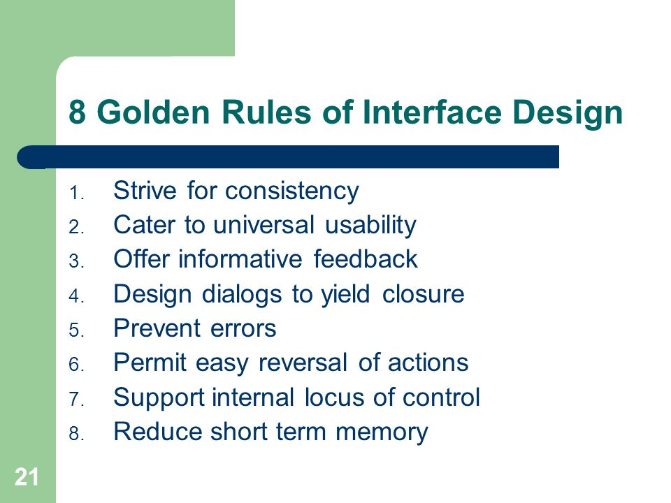 8 Golden Rules of Interface Design