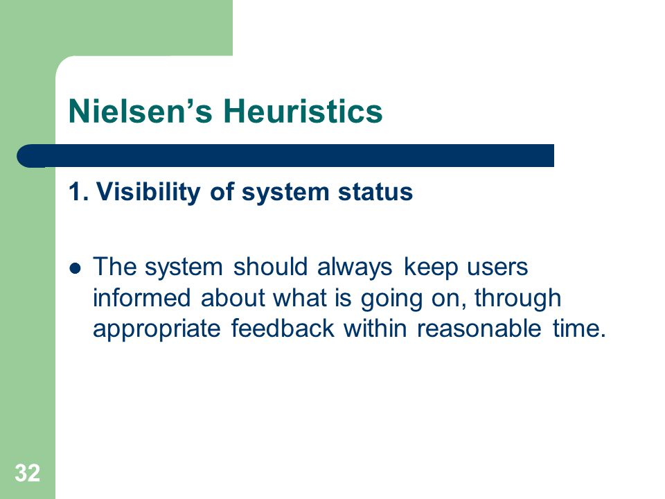 Nielsen's Heuristics 1. Visibility of system status