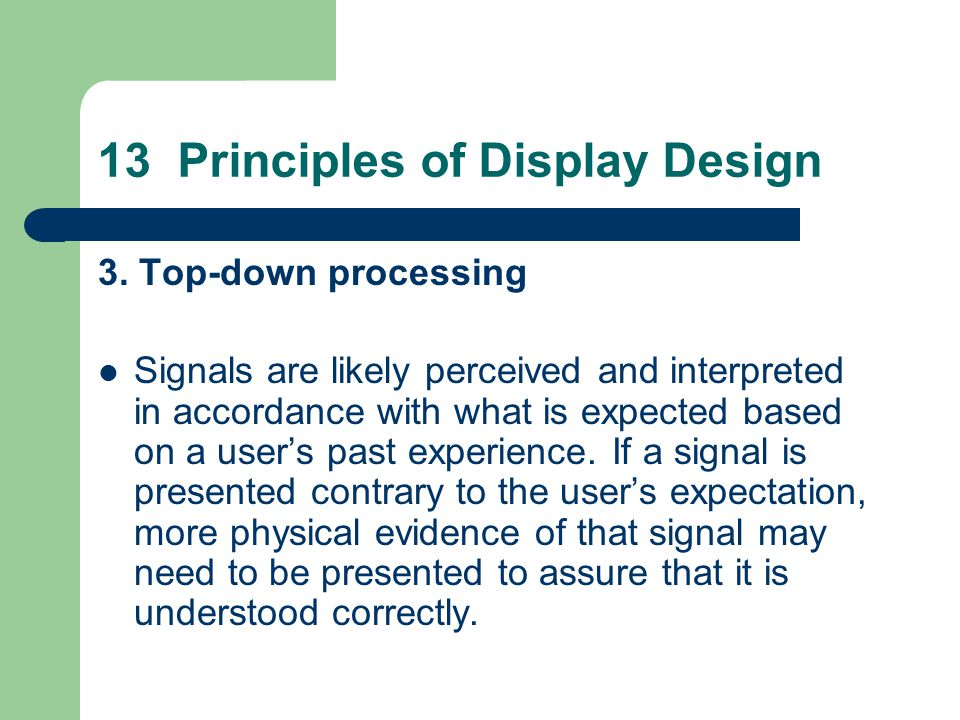 13 Principles of Display Design