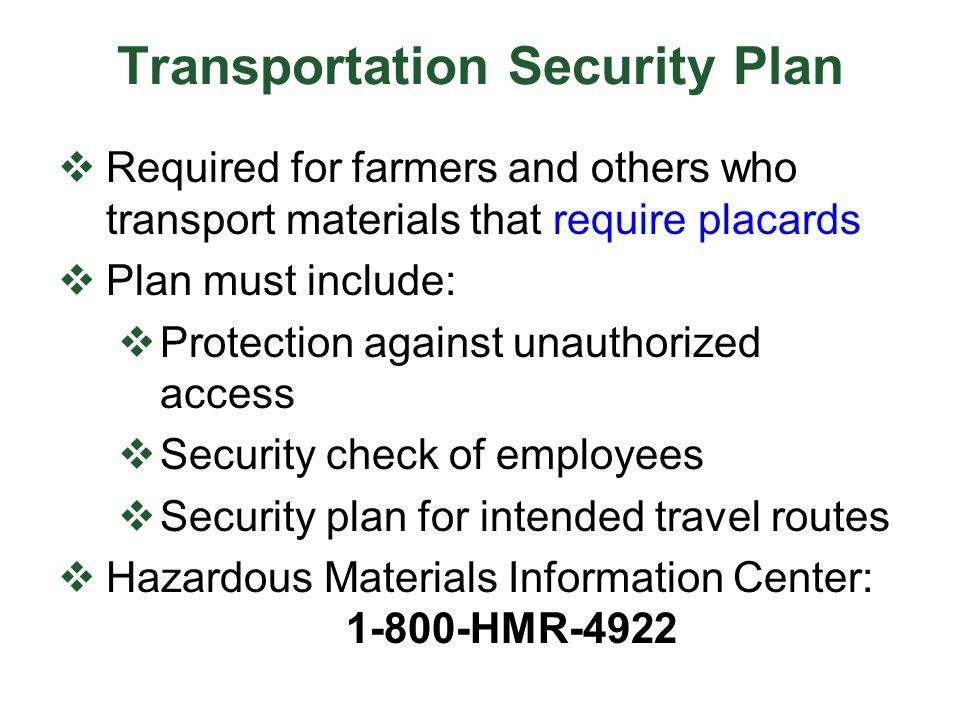 Transportation Security Plan