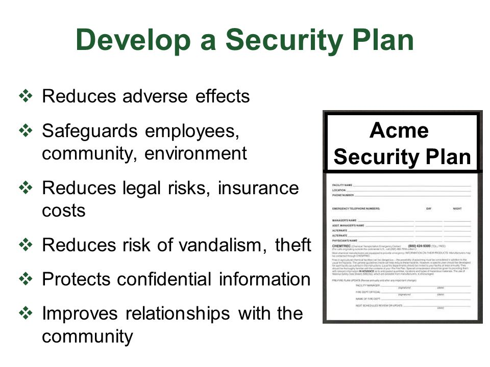 Develop a Security Plan