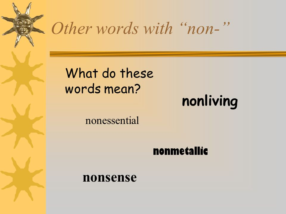 Other words with non-