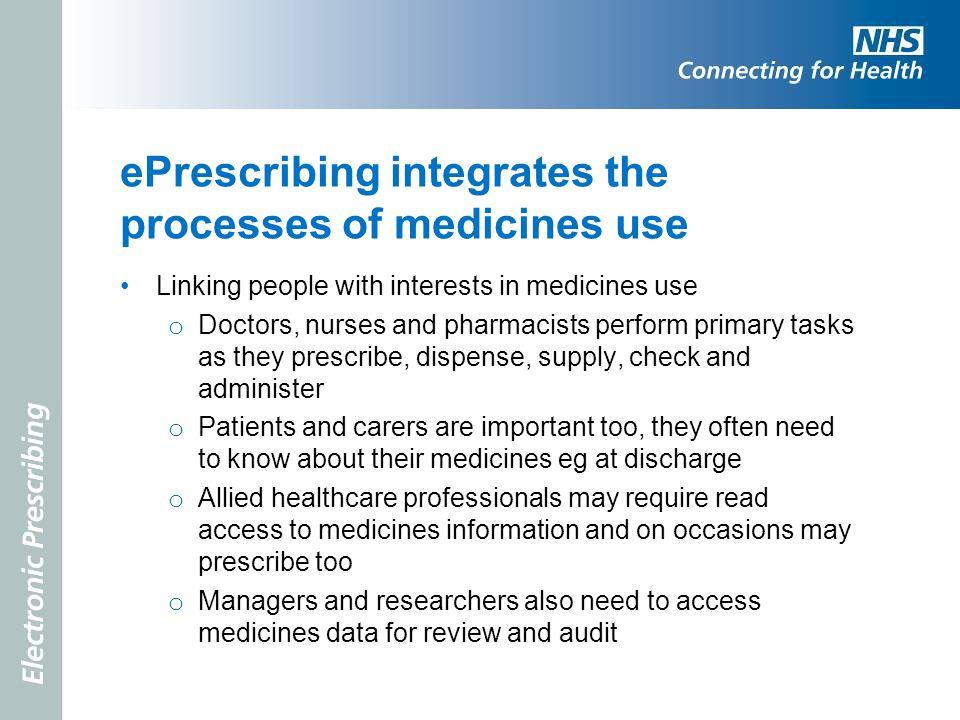 ePrescribing integrates the processes of medicines use