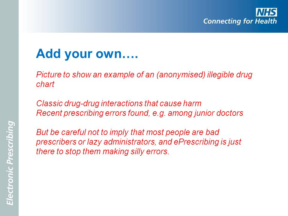 Add your own…. Picture to show an example of an (anonymised) illegible drug chart. Classic drug-drug interactions that cause harm.