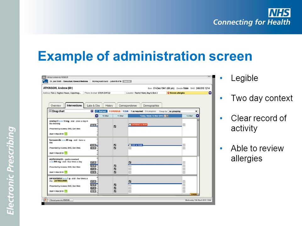 Example of administration screen