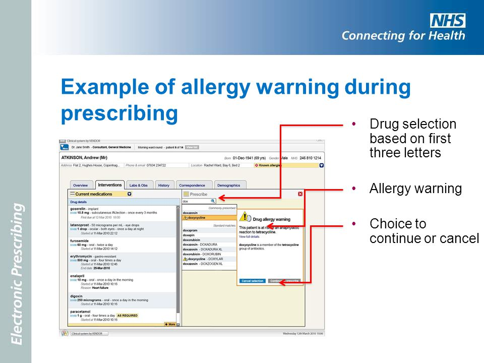 Example of allergy warning during prescribing