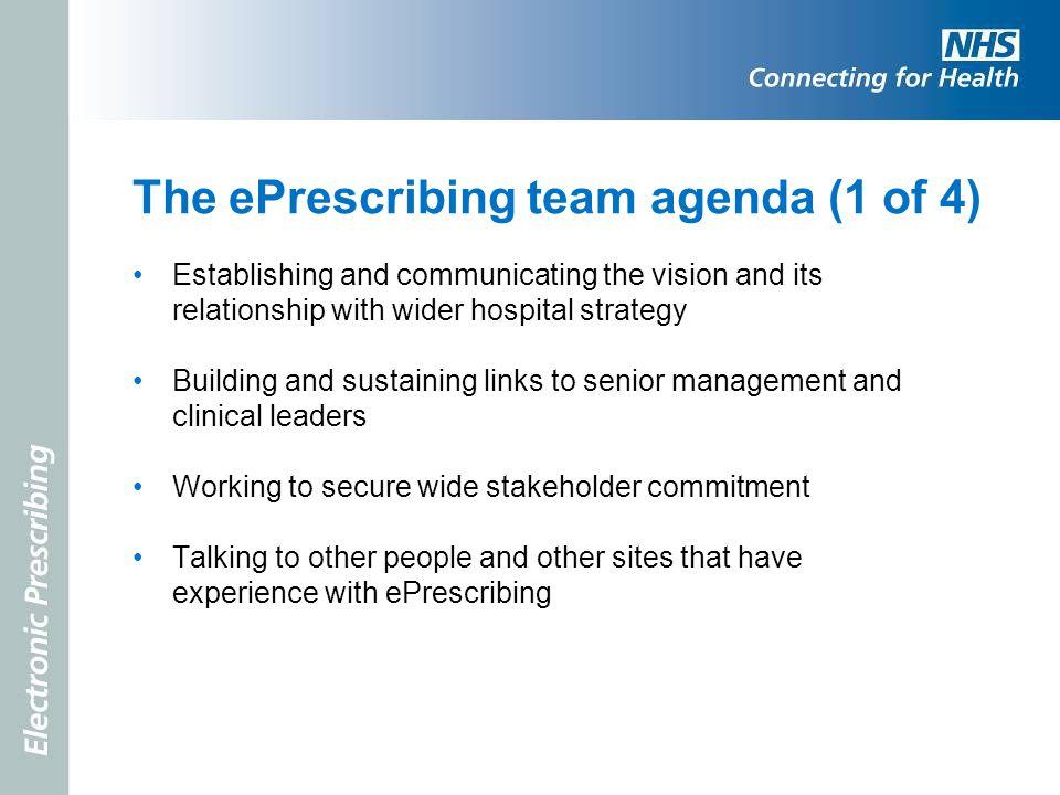 The ePrescribing team agenda (1 of 4)