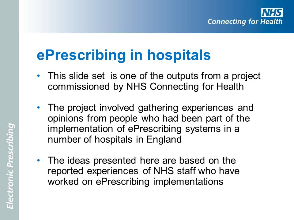 ePrescribing in hospitals