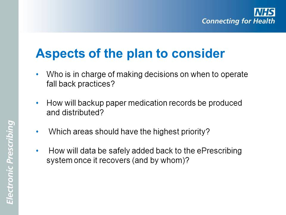 Aspects of the plan to consider