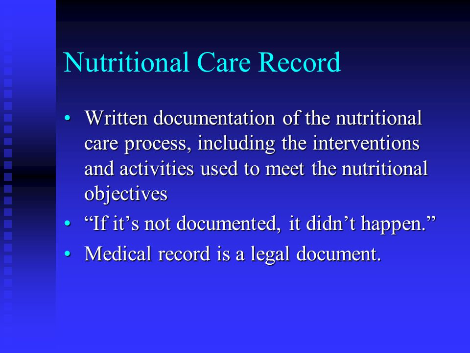 Nutritional Care Record