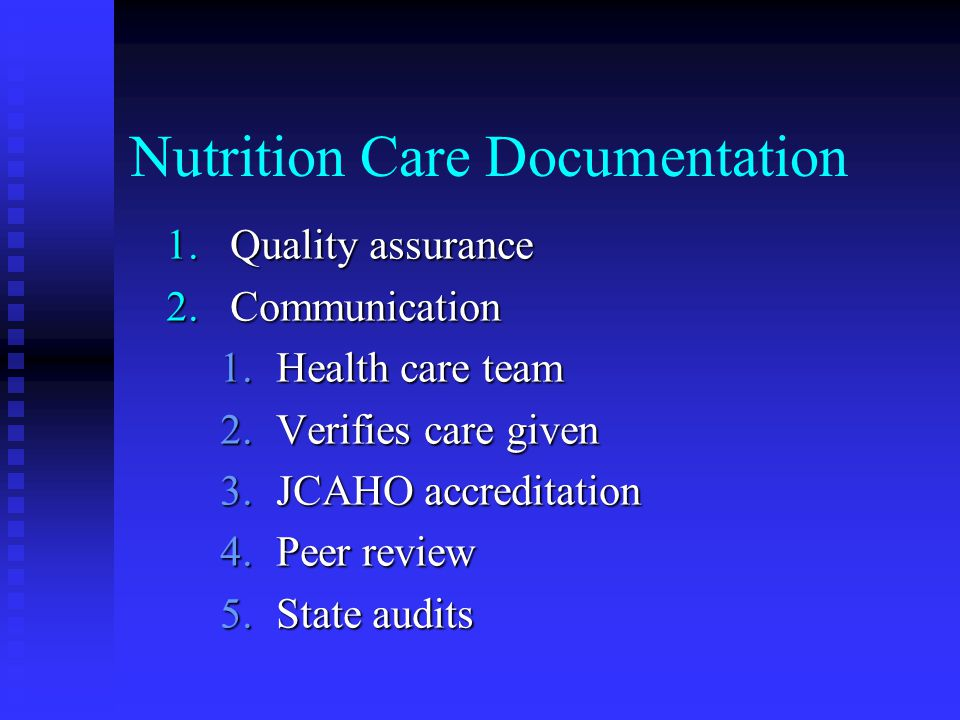Nutrition Care Documentation