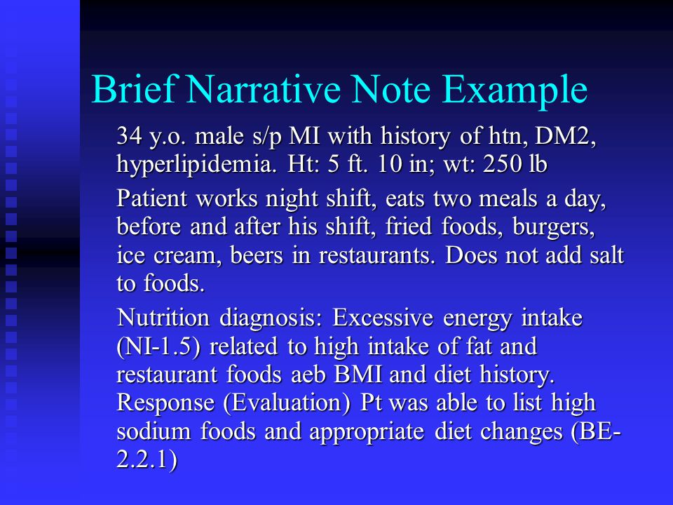 Brief Narrative Note Example