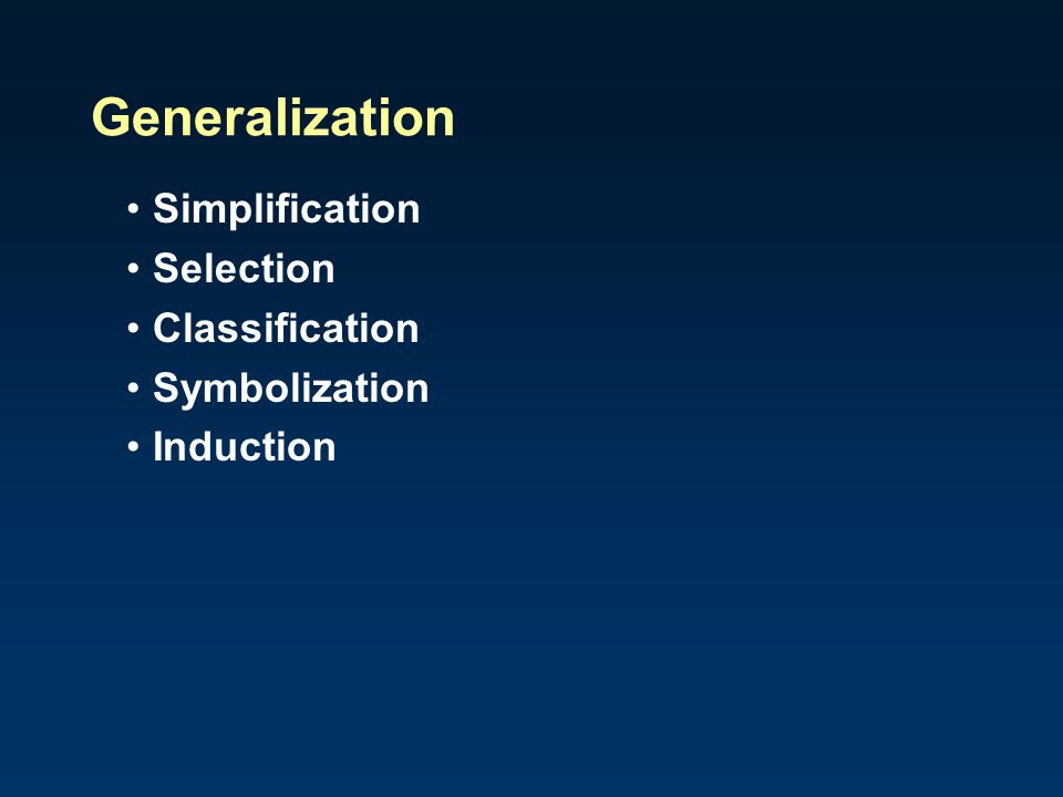 Generalization Simplification Selection Classification Symbolization