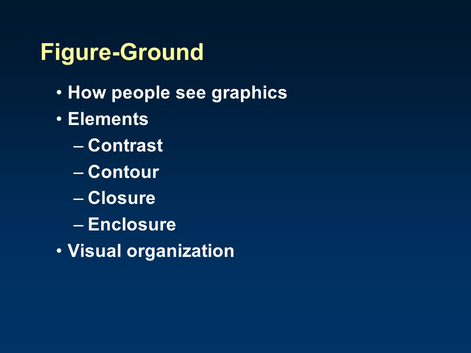 Figure-Ground How people see graphics Elements Contrast Contour