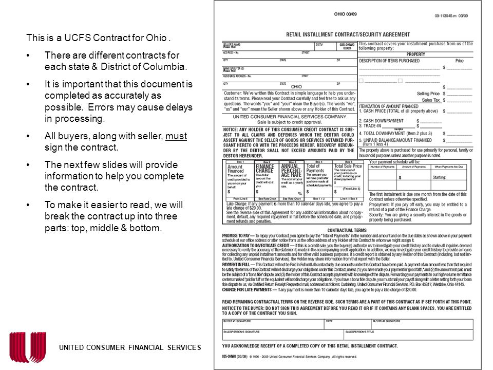 This is a UCFS Contract for Ohio .