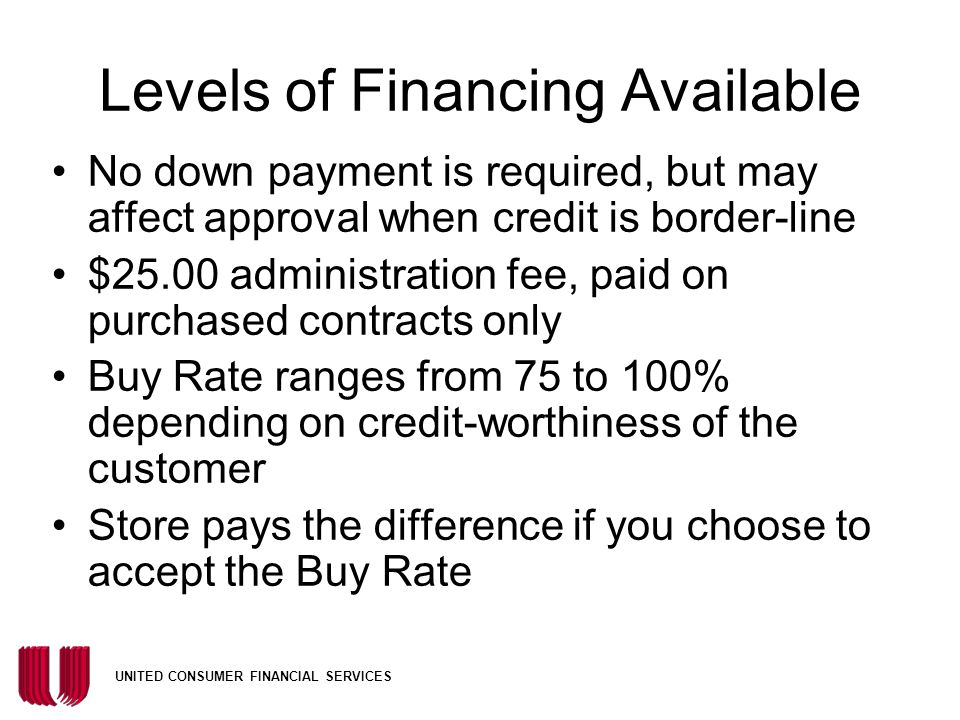 Levels of Financing Available
