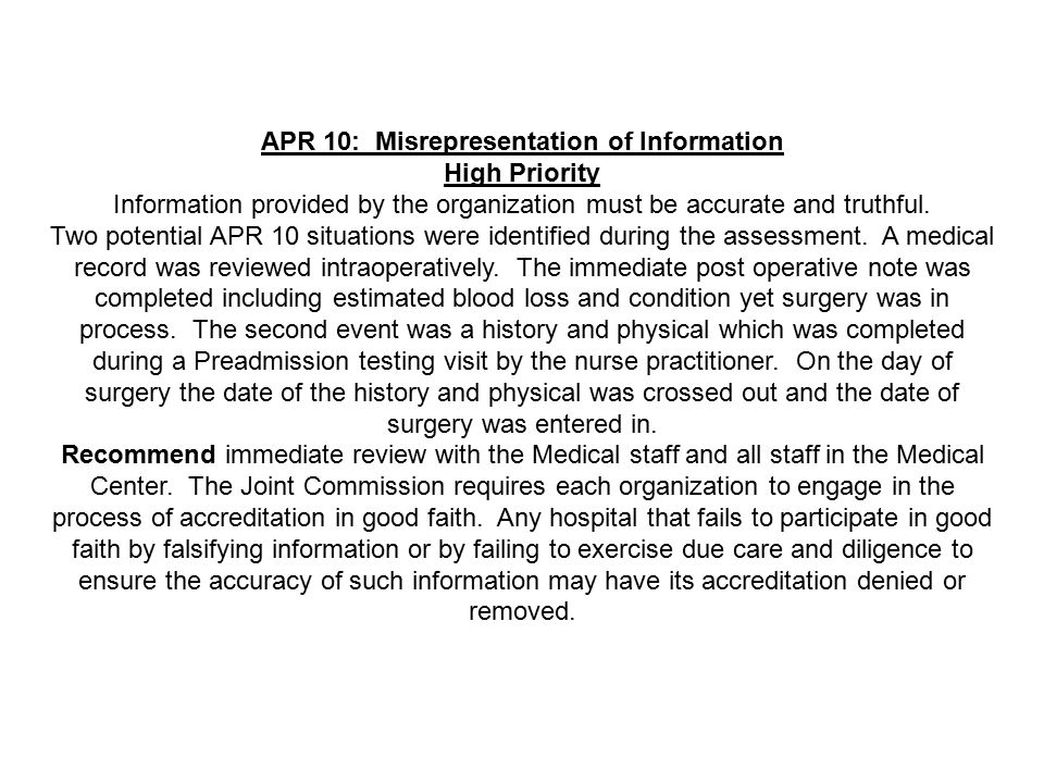 APR 10: Misrepresentation of Information