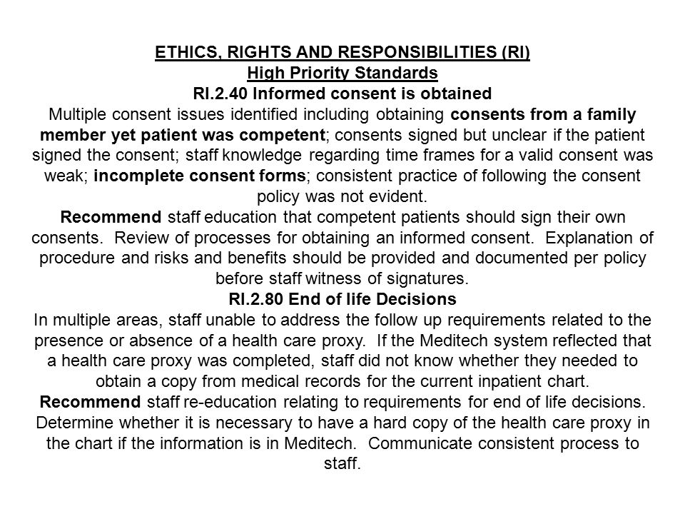 ETHICS, RIGHTS AND RESPONSIBILITIES (RI) High Priority Standards