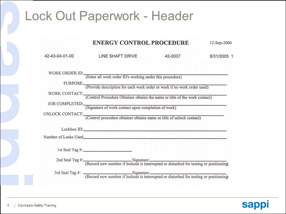 Lock Out Paperwork - Header