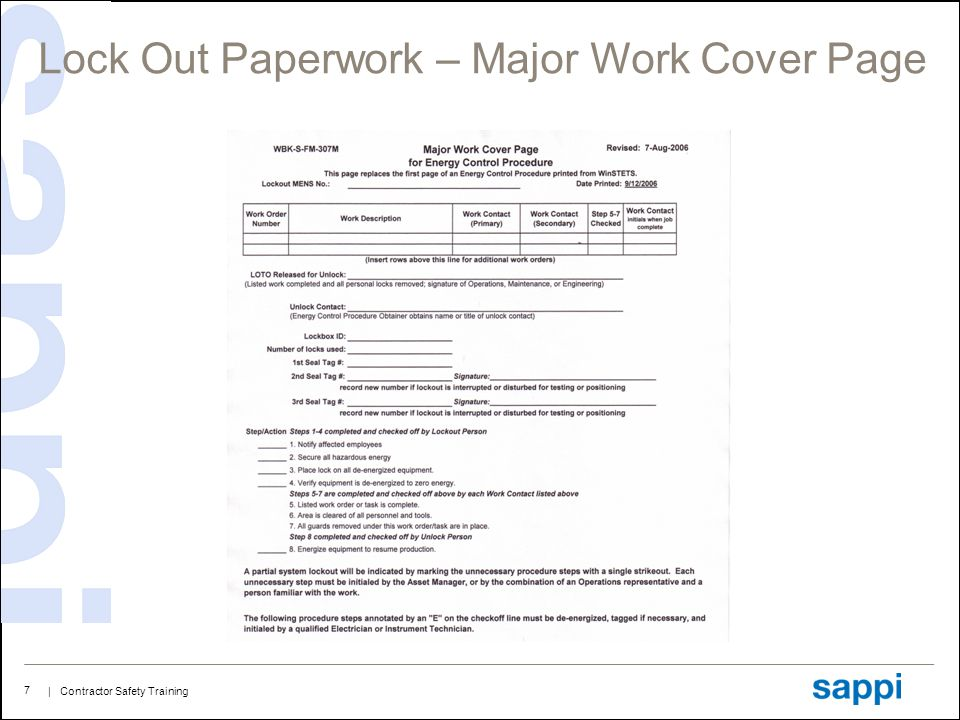 Lock Out Paperwork – Major Work Cover Page