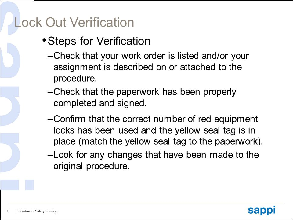 Lock Out Verification Steps for Verification