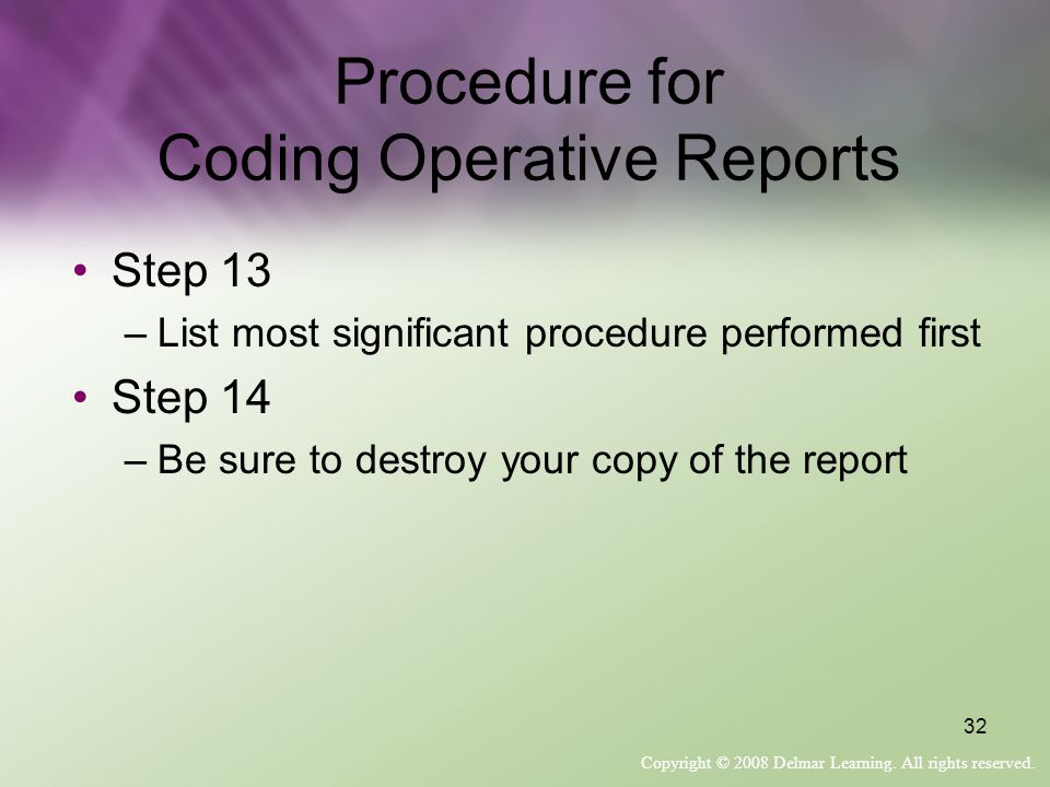 Procedure for Coding Operative Reports