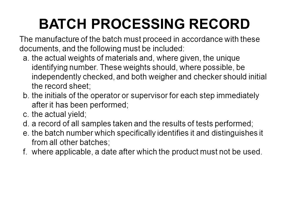 BATCH PROCESSING RECORD