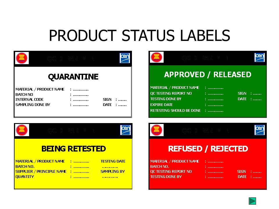 PRODUCT STATUS LABELS