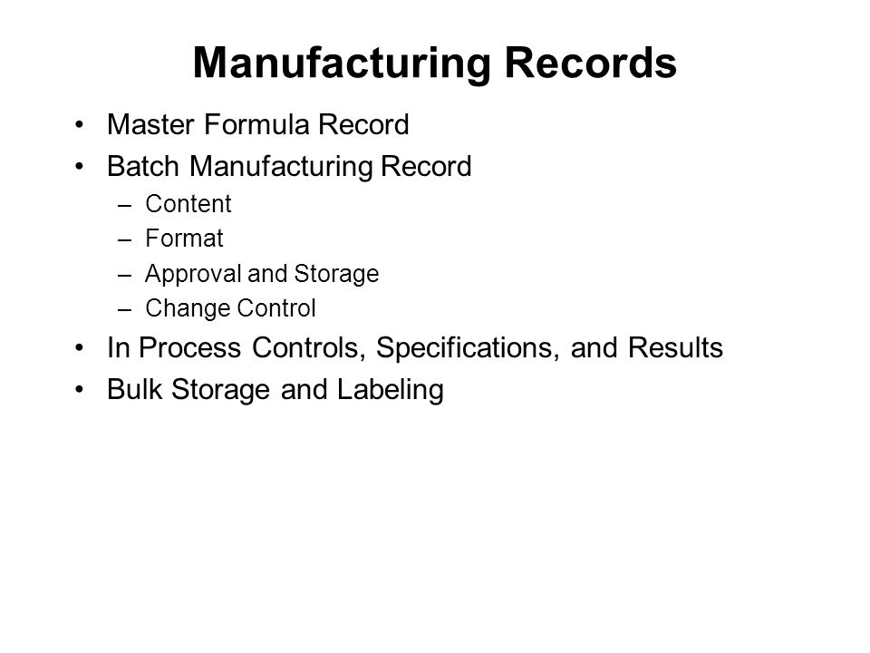 Manufacturing Records