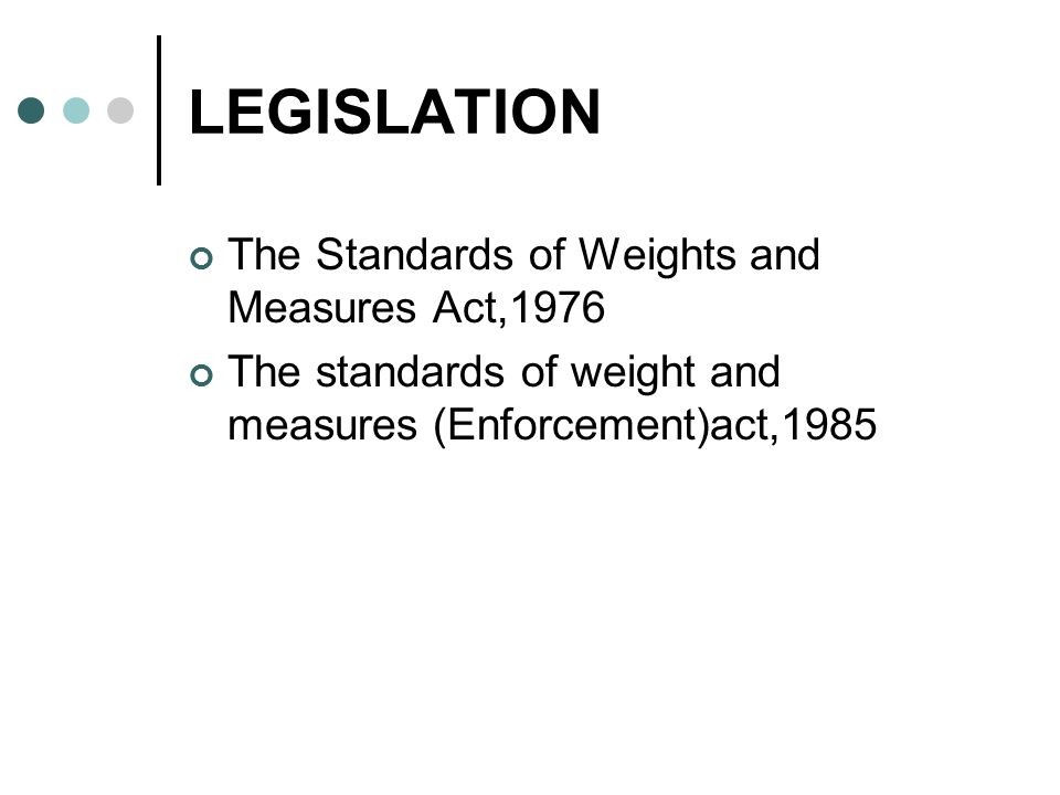 LEGISLATION The Standards of Weights and Measures Act,1976