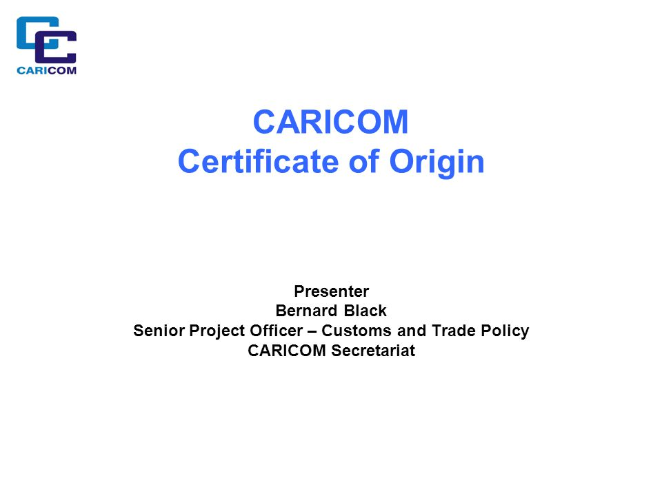 CARICOM Certificate of Origin