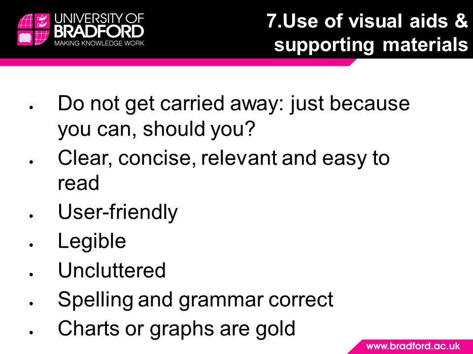 7.Use of visual aids & supporting materials