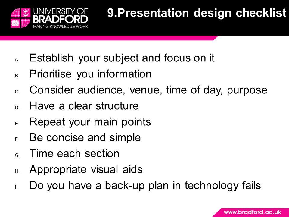 9.Presentation design checklist