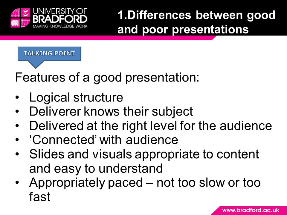 1.Differences between good and poor presentations
