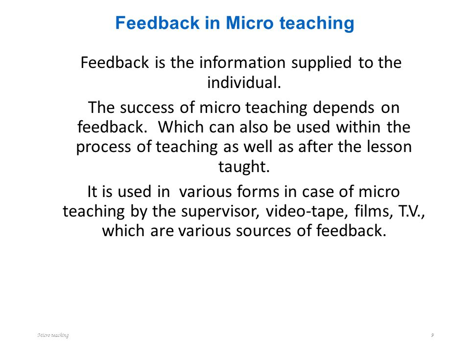 Feedback in Micro teaching