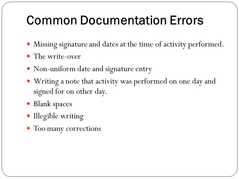 Common Documentation Errors